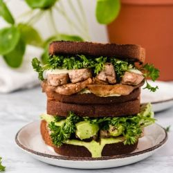stack of vegan tempeh sandwiches
