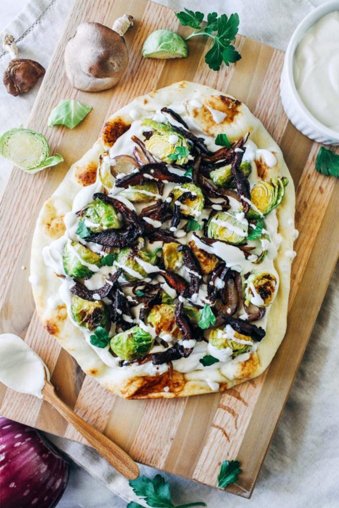 white pizza with brussels sprouts