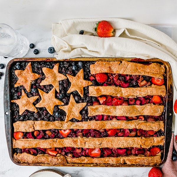 american flag slab pie on a marble table, overhead shot