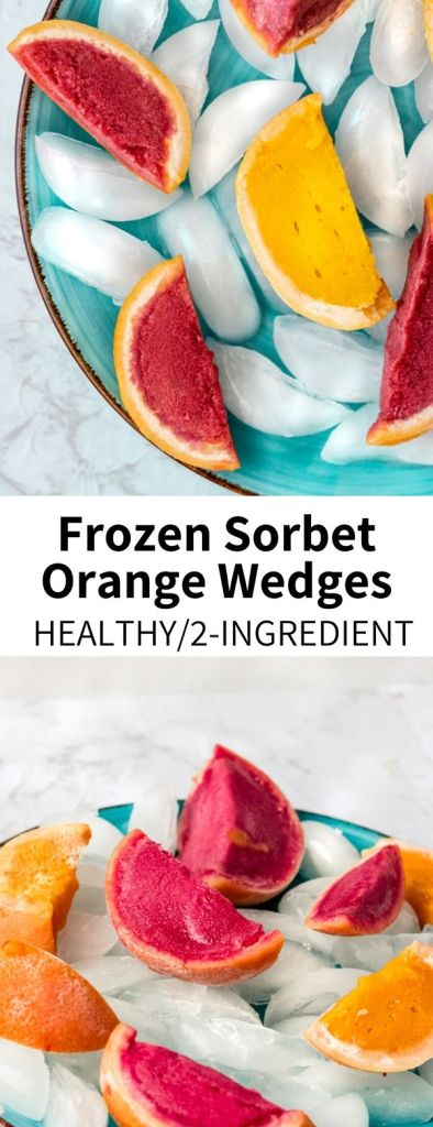 The EASIEST dessert you'll make this summer! Fruity raspberry and mango sorbet frozen in scooped-out citrus halves, this shareable treat is super cute and easily customizable. Mix up your ice cream socials with this delicious and heathy dessert!