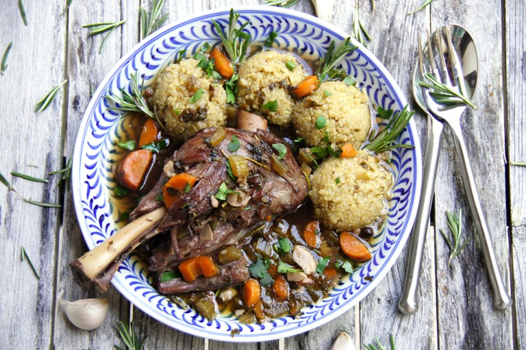 Super delicious, easy Braised Lamb Shanks with beautiful, rich, but light wine sauce is a great, comfort recipe that only takes 15 prep time.