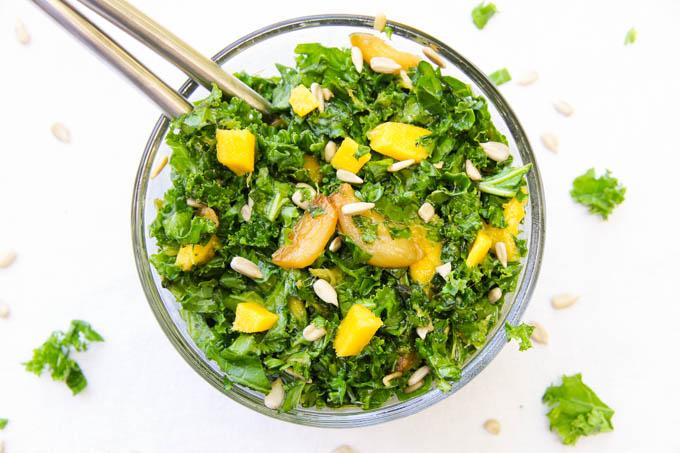 Kale, Mango, Caramelized Garlic Salad