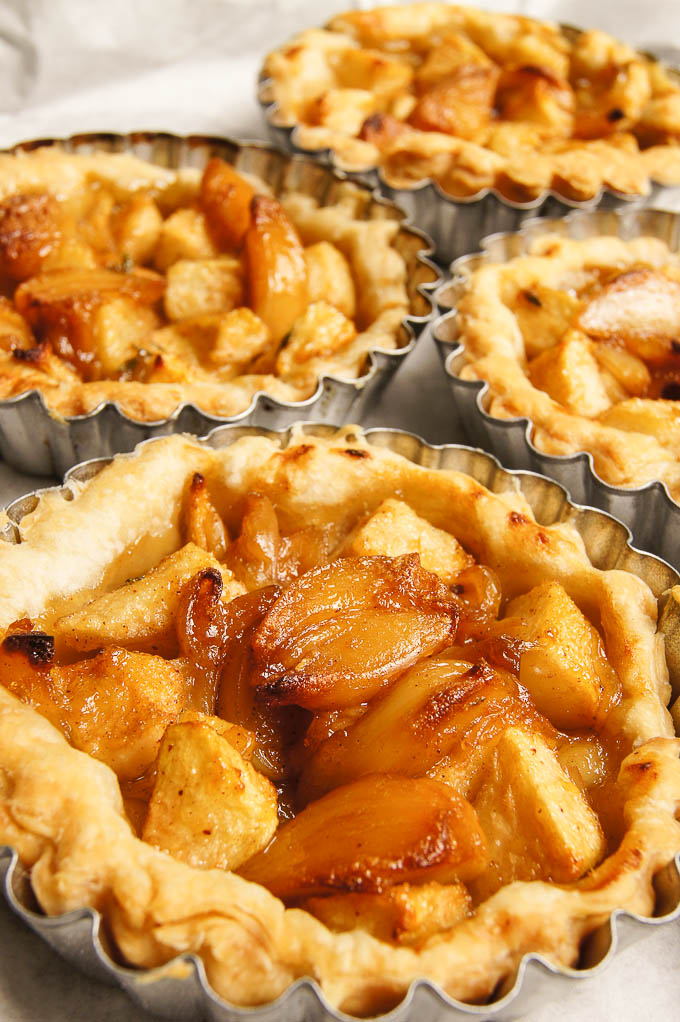 Caramelised Garlic and Pear Tartlets