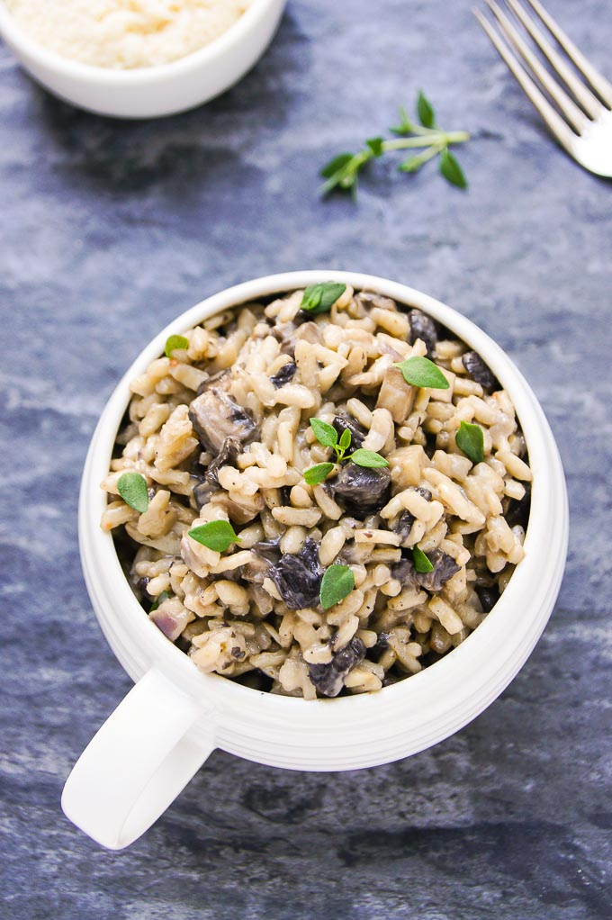 Delicious, 30 min Gourmet Mushroom Risotto - easy recipe in true Italian style. Loads of rich, authentic, earthy & satisfying flavours in a simple dish!