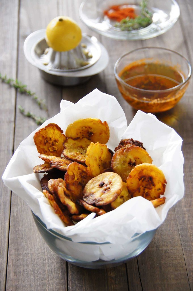 Garlic Plantain Tostones recipe is an easy, delicious side dish or a naughty snack. It works great with homemade garlic salt or a dip.