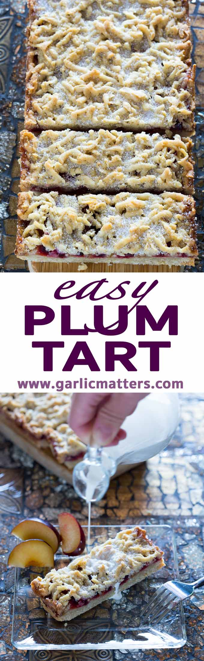 Easy, gluten free Plum Tart recipe - all you need to make your cup of tea extra special. Crumbly, juicy and sweet dessert or a snack.