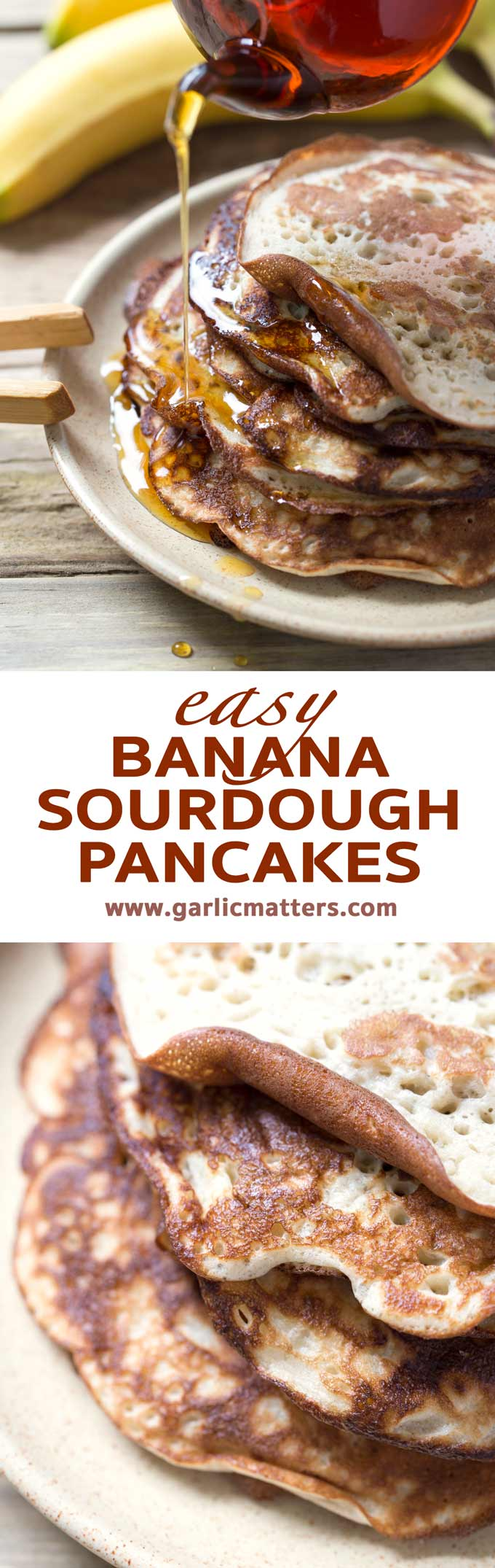 Delicious Banana Sourdough Pancakes are easy to make and also really good for your gut. Add your favourite fruit to make them exactly to your liking.