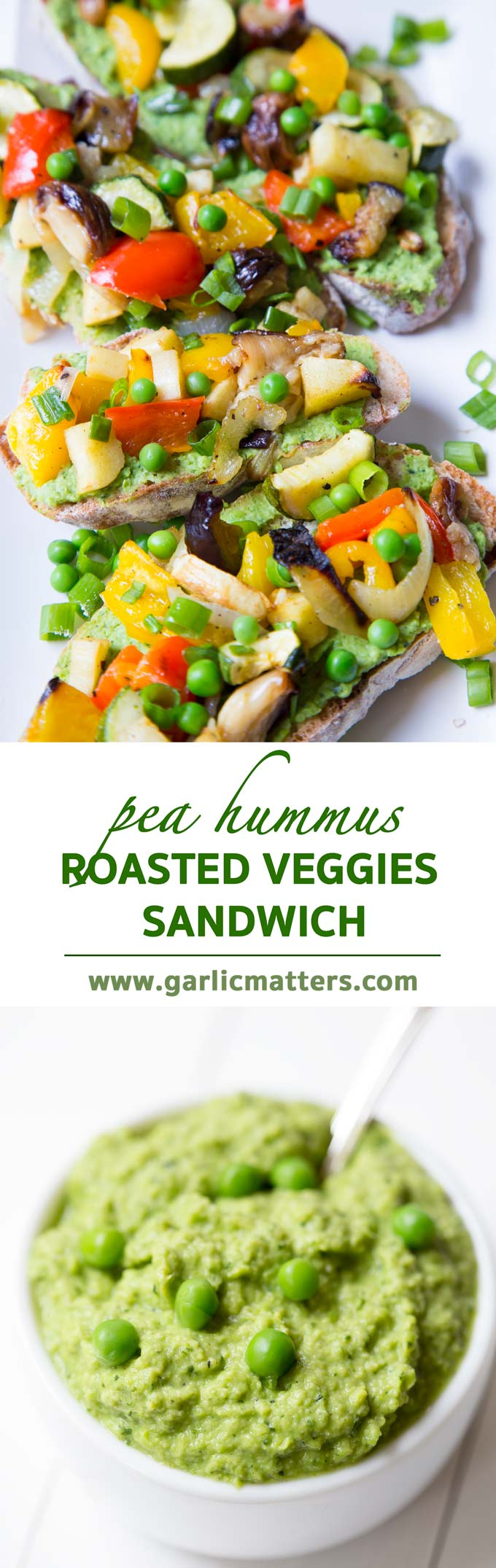Pea Hummus and Roasted Vegetable Sandwich