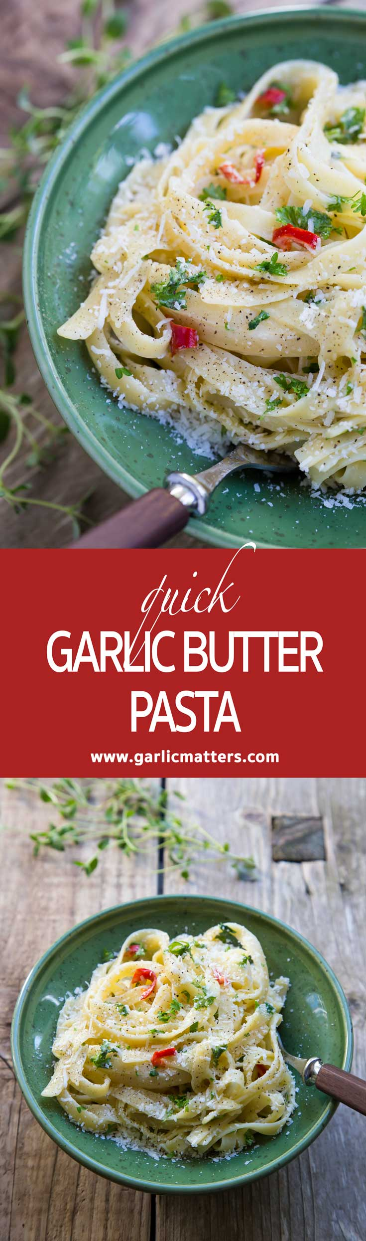 Quick Garlic Butter Pasta Recipe is a vegetarian treat for all true garlic lovers. Perfect for lunch or dinner carb craves. Ready in 20 min.