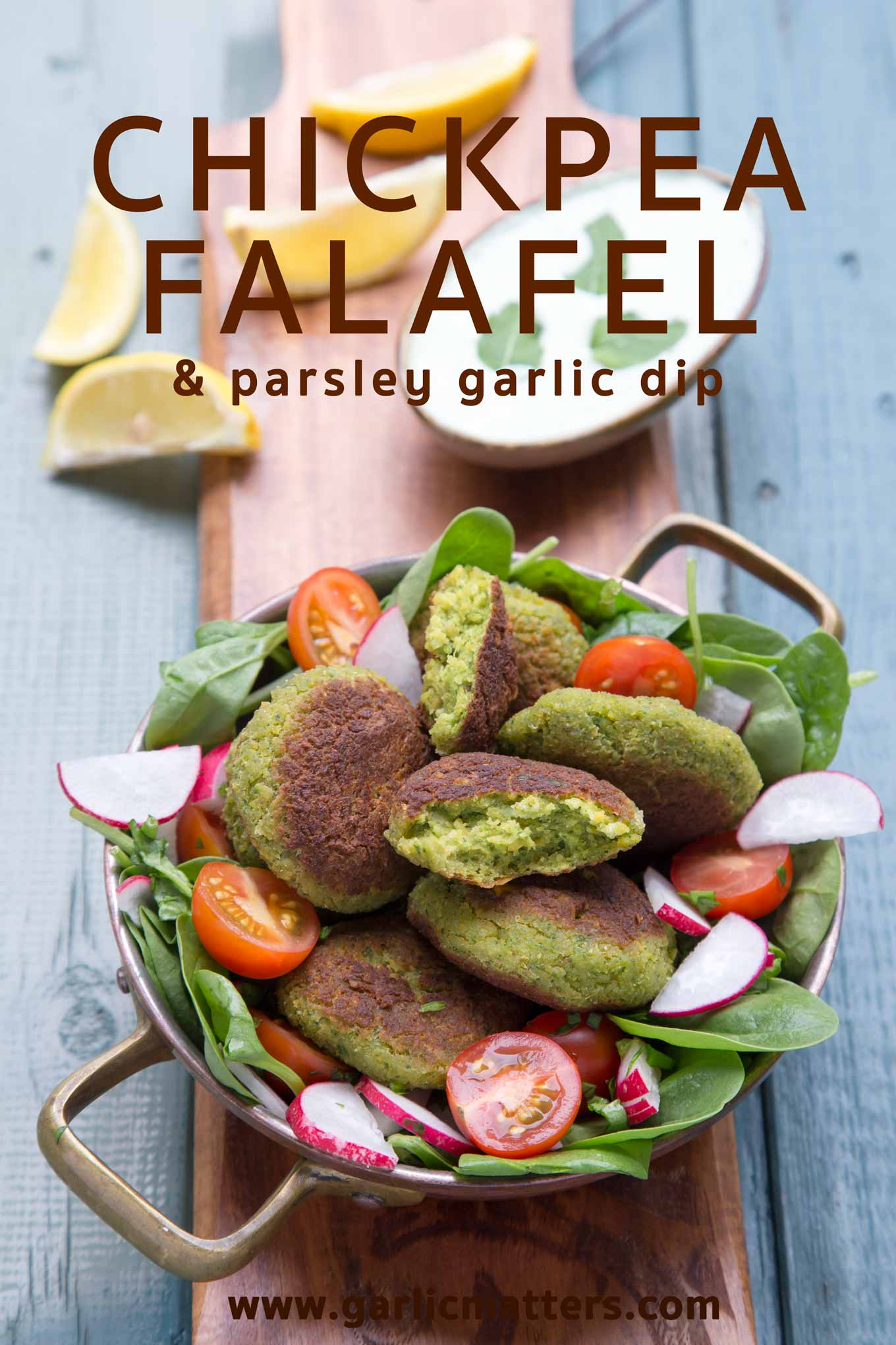 Delicious, vegetarian Middle Eastern falafel made with chickpeas, beautiful, fragrant spices and fresh herbs.