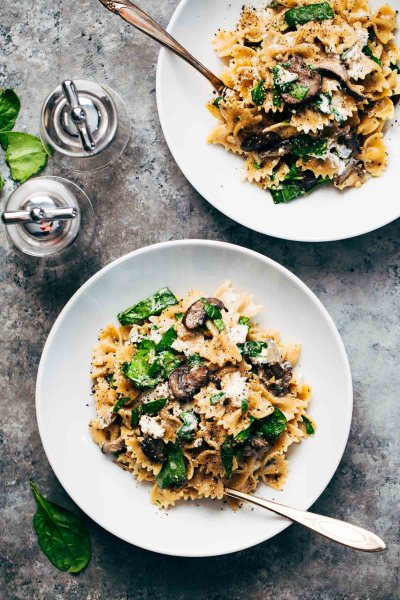Date Night Mushroom Pasta with Goat's Cheese Found on Pinch of Yum - Valentine's Day Dinner Recipes