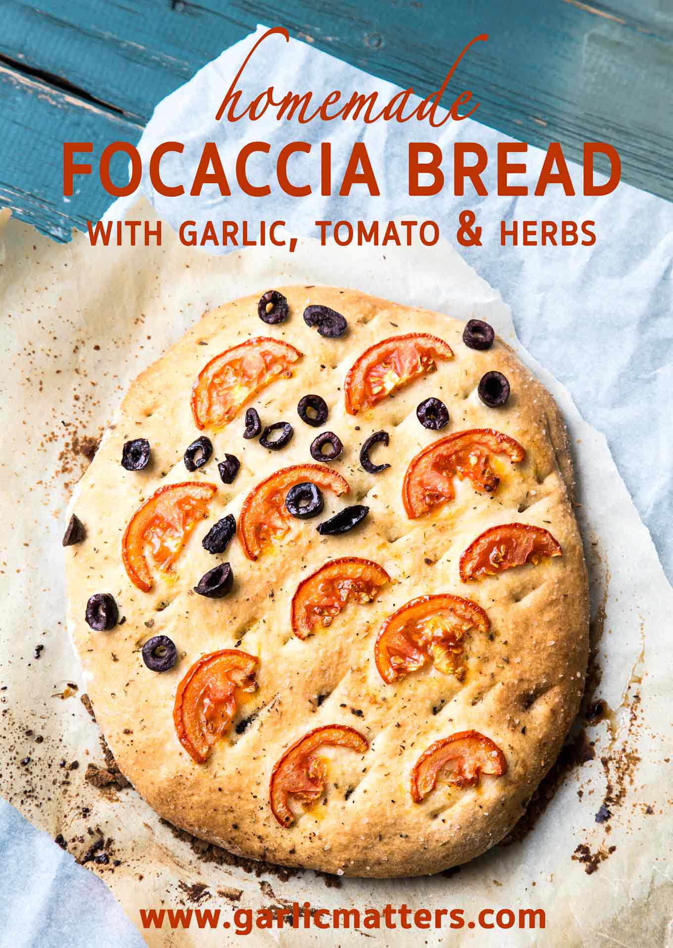 Easy Focaccia Bread with Garlic, Tomato and Herbs, also works great as a thicker pizza base recipe. Delicious eaten warm, loves being dipped.