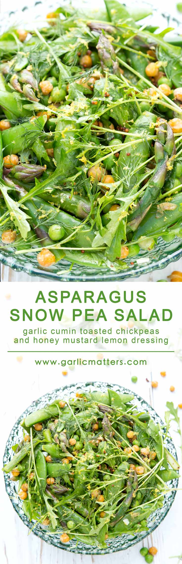 This delicious, vegan Asparagus and Snow Pea Salad comes with garlic cumin toasted chickpeas and honey mustard lemon dressing. It is fresh, green, scrumptiously crunchy and super healthy. Come on in my friends and see how to put this vitamin and protein powerhouse salad together in only 20 min.