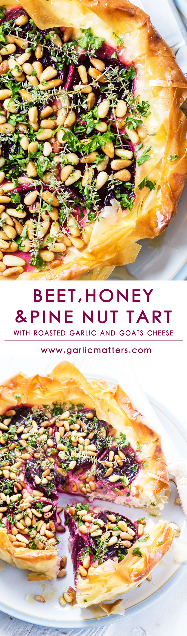 Beet, honey and pine nut tart is light and earthy at the same time, tender inside and crunchy on the outside. Savoury, but with lovely sweet notes throughout, perfect to be eaten warm or cold. Above all remarkably light, flavoursome and mouthwatering summer lunch feast in each slice!