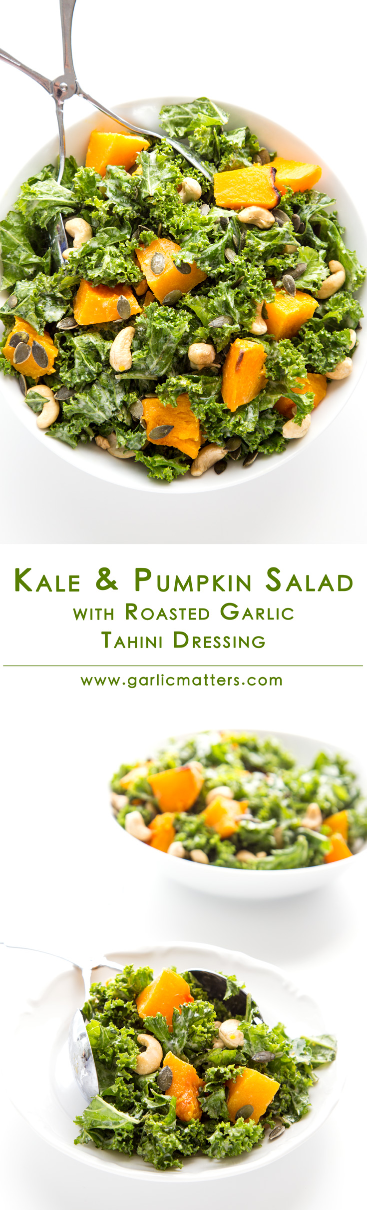 Kale and Pumpkin Salad with Roasted Garlic Tahini Dressing - delicious, vegan recipe for easy and super food healthy meal.