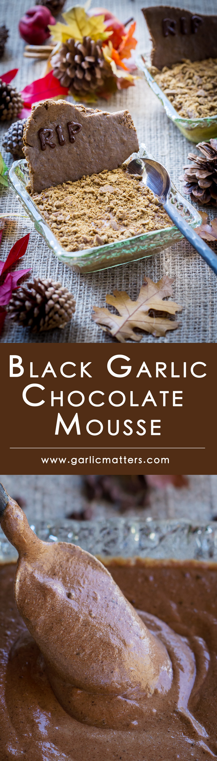 Black Garlic Chocolate Mousse is a gluten free, light yet creamy, spectacularly chocolaty and antioxidants rich dessert. Perfect make ahead party finale and a fun talking point. Yes, you can make chocolate taste better than you realised and you can learn how easy it is here! You could also try a fun Halloween inspired decoration to spook things up a bit!