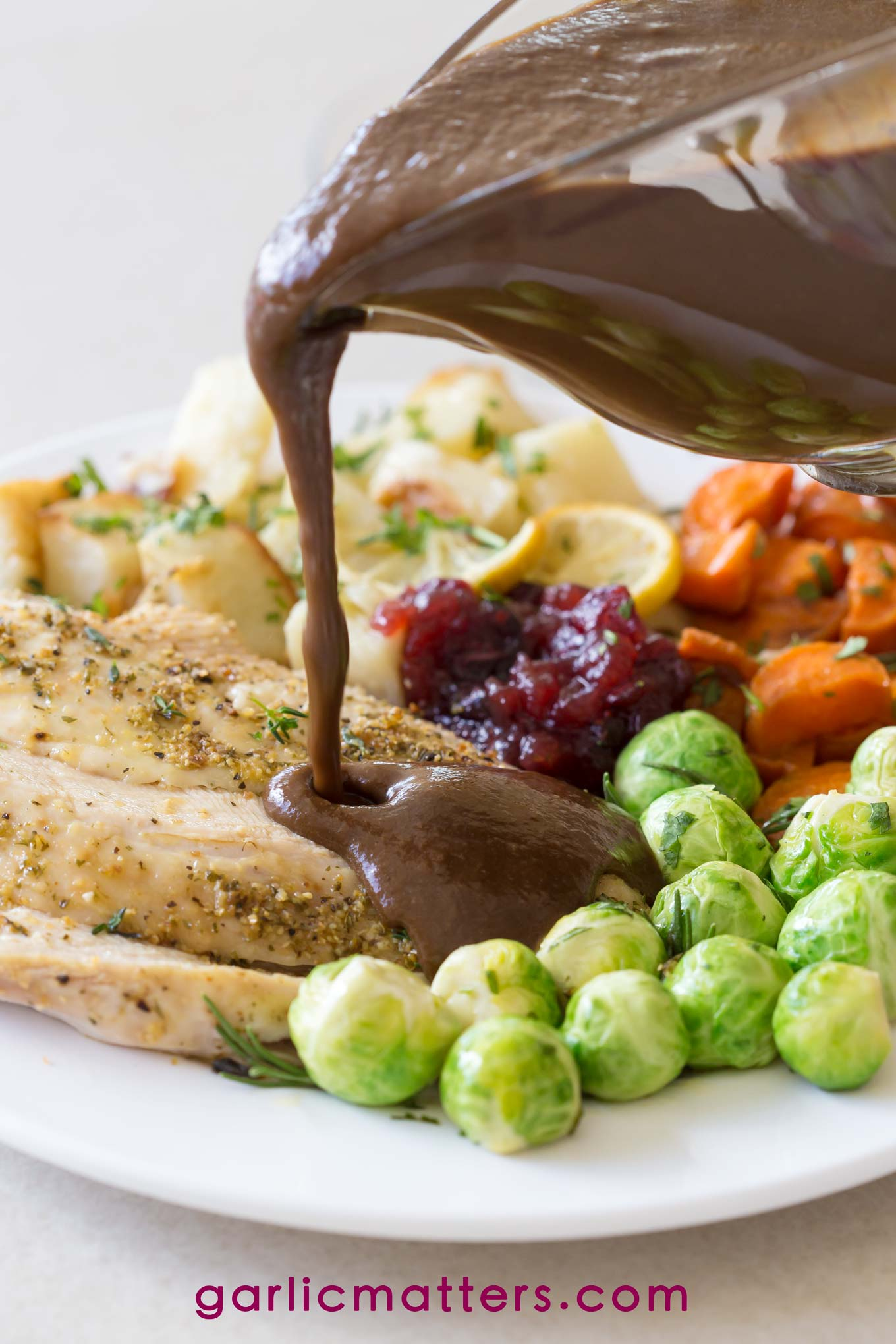 Caramelized onion and black garlic gravy recipe is perfect to go with any festive roast meal.