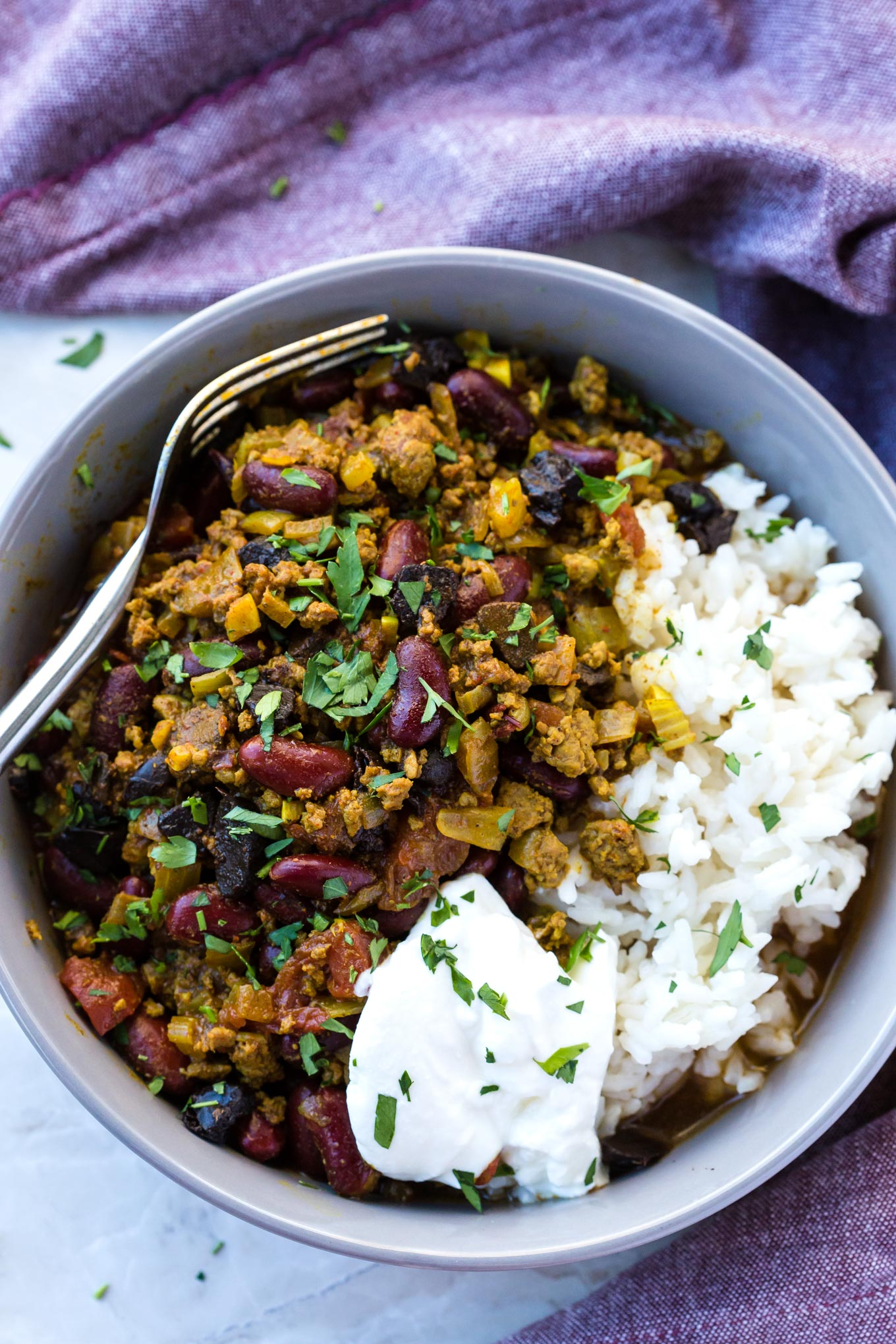Chilli Con Carne With Beans in a serving bowl