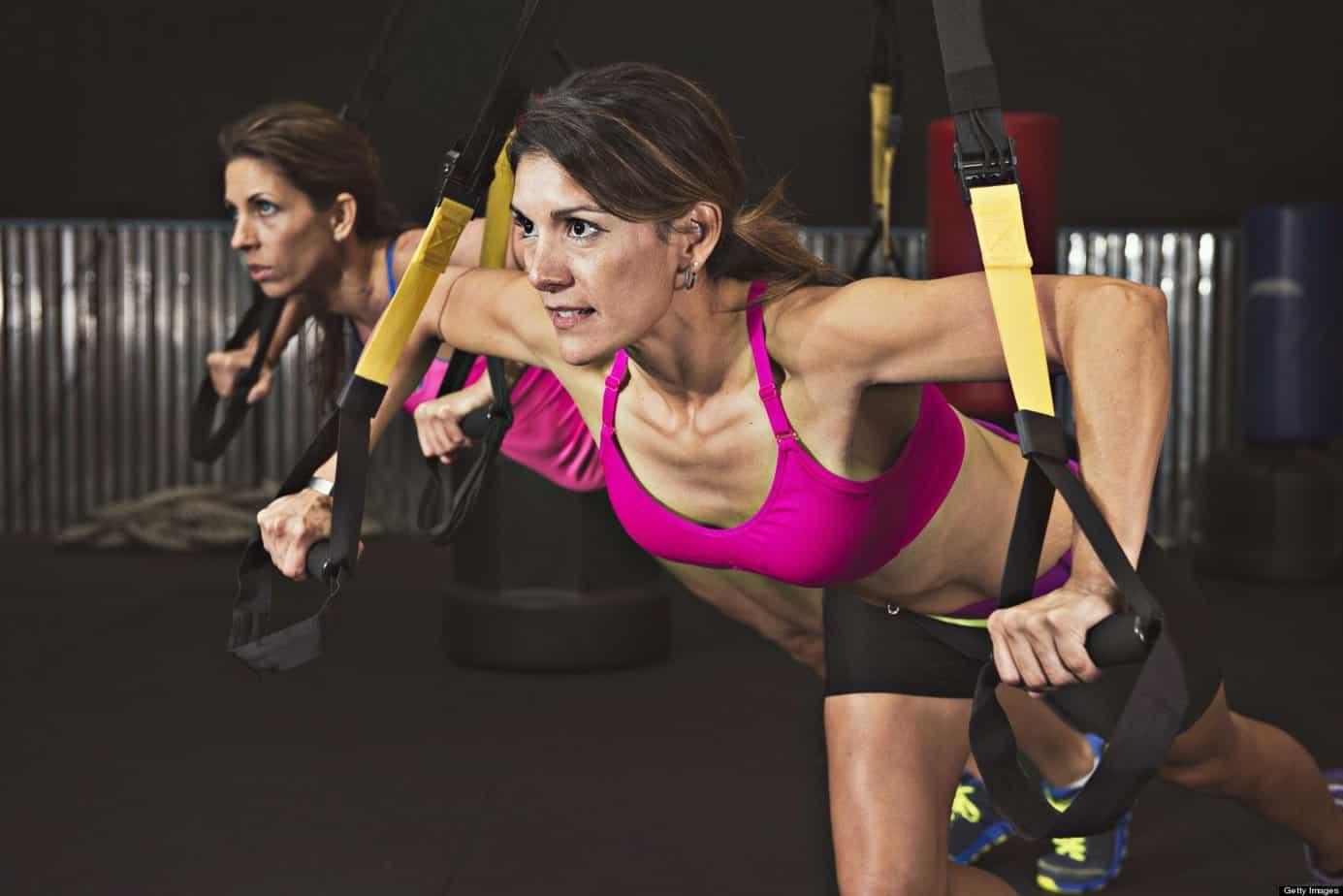 Women performing bodyweight exercises