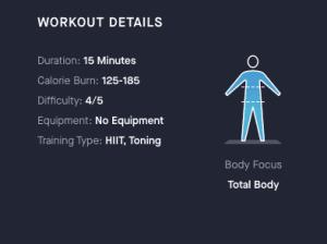 HIIT workout details