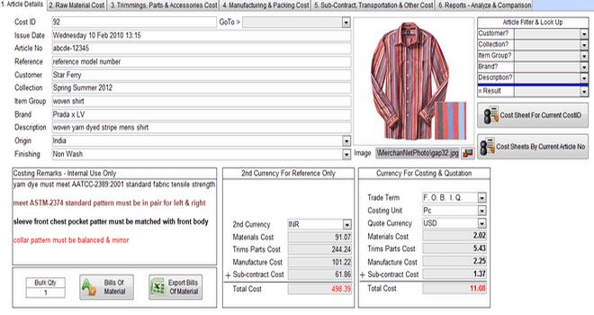 Garments Price Quotation