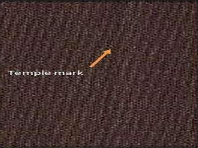 Temple mark in woven fabric