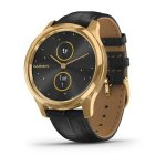 vívomove® Luxe 24K Gold PVD Stainless Steel Case with Black Embossed Italian Leather Band