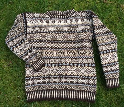 Homecoming-sweater. Forbrug: 500 gram, fordelt på 5 farver.