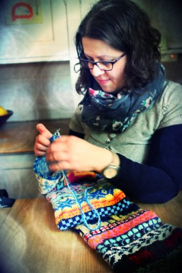 Industrious knitter.