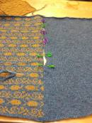 Lining up squares for sewing together.