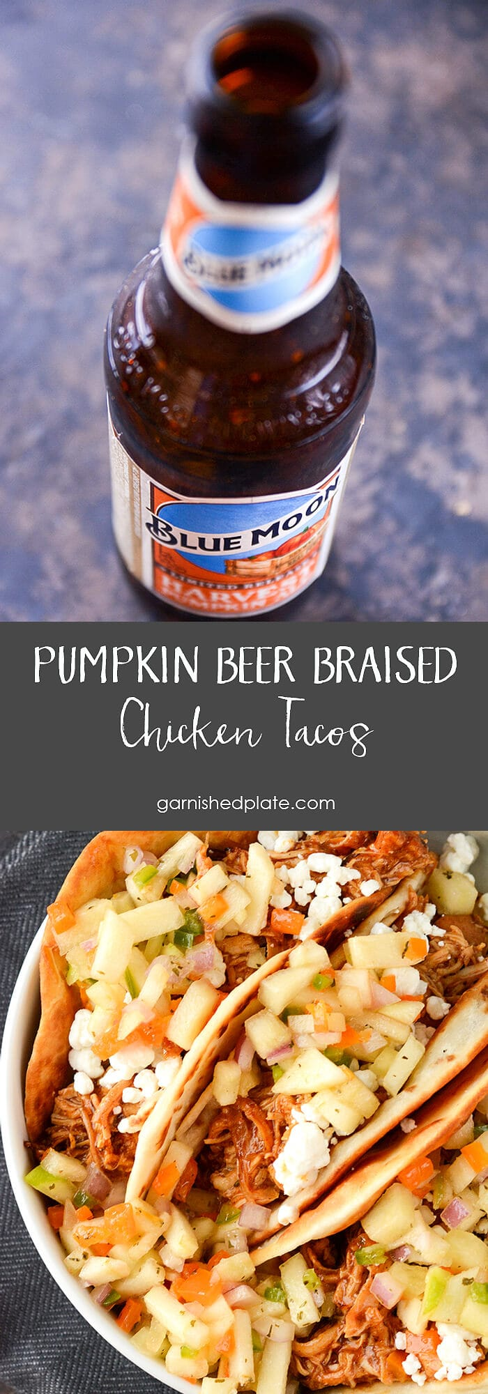 These tacos will blow you away!  Slightly spicy pumpkin beer braised chicken with sweet and tart apple salsa all combined with crispy tortillas and creamy goat cheese for the perfect fall treat!