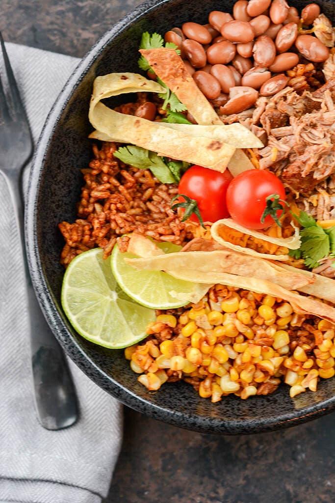 Slow Cooker Pork Enchilada Bowls