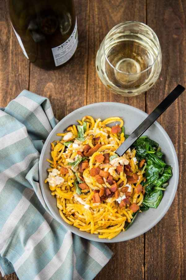 "Butternut Squash ""Pasta"" with Kale and Goat Cheese"