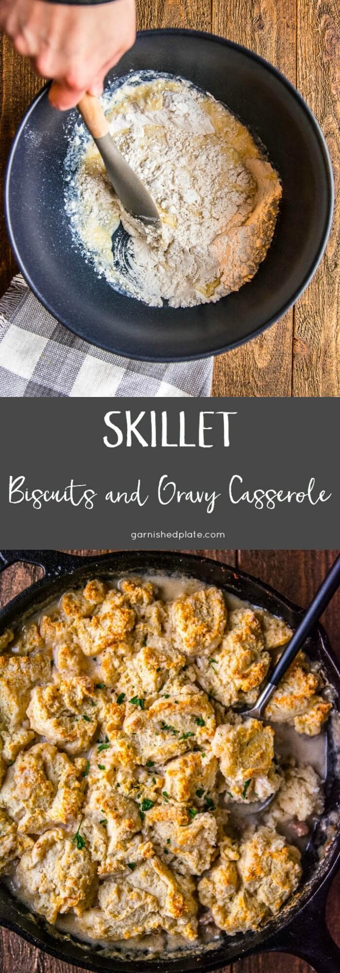 Skillet Biscuits and Gravy Casserole