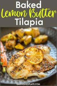 Tender Flaky Baked Lemon Butter Tilapia will become your new go to dinner for busy nights! #baked #lemon #butter #tilapia #oldbay