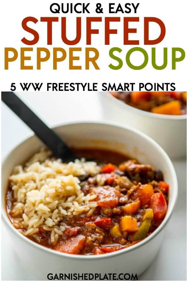 Love stuffed peppers but not a fan of the extra work? How about this quick and easy stuffed pepper soup instead? All the delicious flavors you love in about 20 minutes! #soup #dutchoven #souprecipes #stuffedpeppers #bellpeppers #quickdinner #easydinner