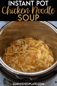 Are you looking for a warm and comforting dinner? Or maybe a nourishing meal to help you feel better during cold season? This Instant Pot Chicken Noodle Soup is quick and easy and better than anything from a can! #instantpot #chickennoodlesoup #souprecipe