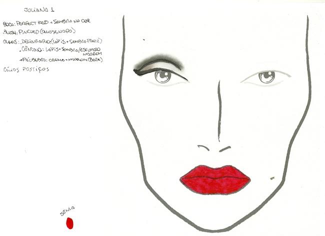 facechart maquiagem olhos pretos boca vermelha