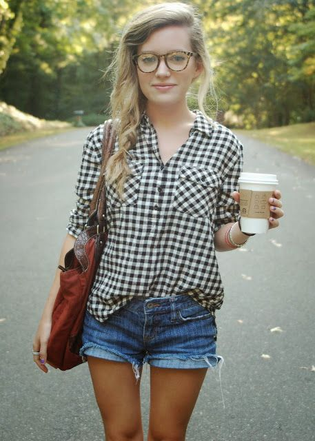 short e blusa xadrez