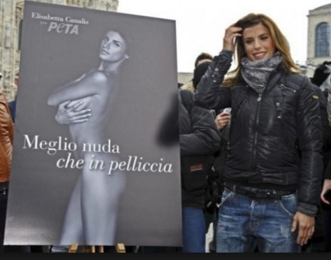 Elisabeta Canalis with PETA poster