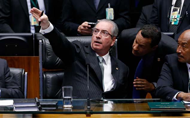 O presidente da Câmara, Eduardo Cunha (PMDB-RJ), preside a sessão de votação do impeachmentPedro Ladeira - 17.abr.2016/Folhapress