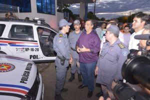 Governador Flávio Dino durante entrega de viaturas que reforçarão as ações de policiamento em Timon