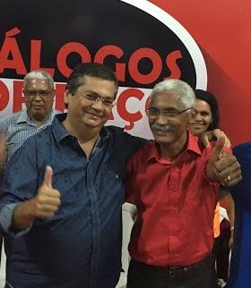 O governador Flávio Dino e Domingos Dutra, candidato que lidera a corrida eleitoral em Paço do Lumiar