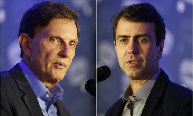 Os candidatos a prefeito do Rio de Janeiro Marcelo Crivella (PRB) e Marcelo Freixo (PSOL) | Fotos de Marcelo Carnaval / Agência O Globo A
