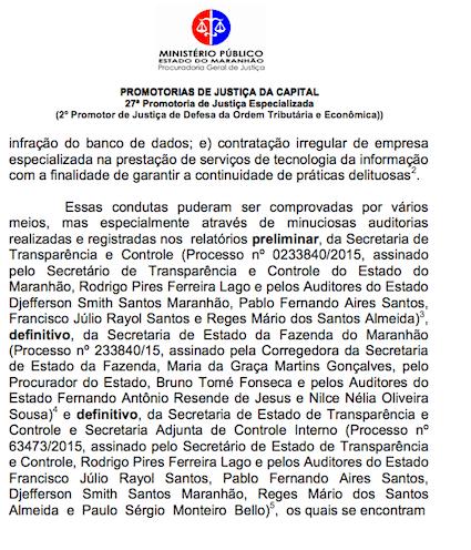 Outro trecho da ação, onde o promotor se refere ao relatório preliminar da STC expedido em 2015