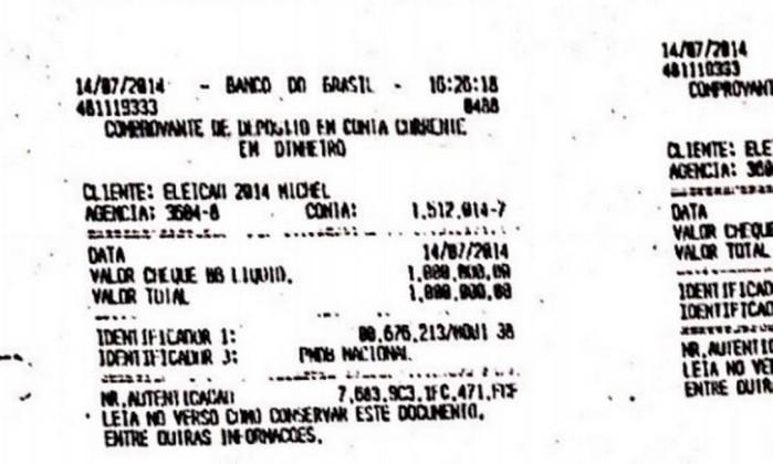 """Comprovante do depósito do cheque de R$ 1 milhão na conta """"Eleição 2014 Michel"""" - Reprodução"""