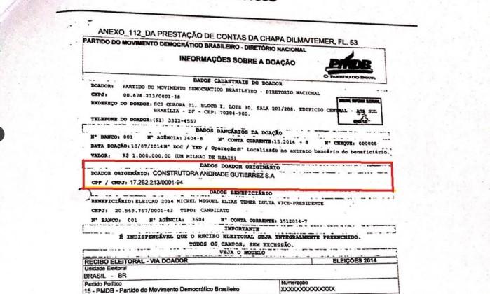 Documento da prestação de contas do PMDB mostra que origem do cheque de R$ 1 milhão é doação da Andrade Gutierrez - Reprodução