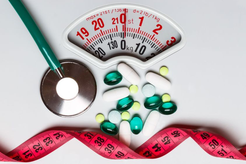 Healthy eating, medicine, health care, food supplements and weight loss concept