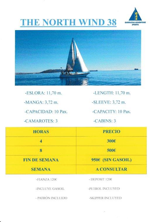 "Paseo en barco en Garrucha a bordo del barco ""The North Wind"""