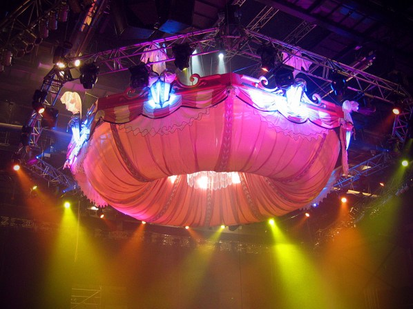 A giant evolving burlesque tent for the bizarre bra section of the 2006 WOW show
